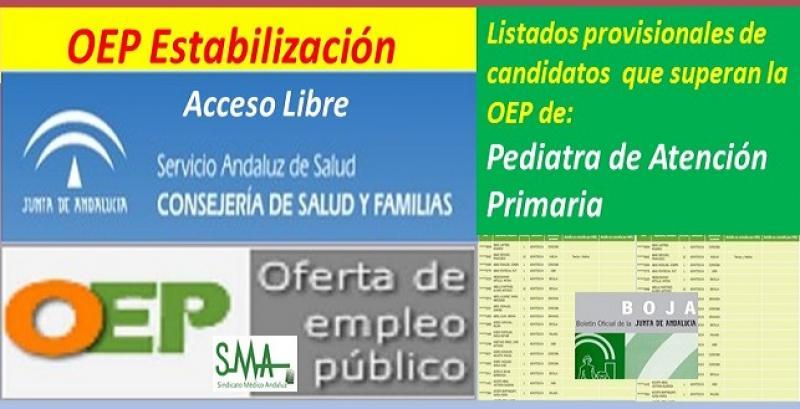 OEP Estabilización. Listado provisional de personas que superan el concurso-oposición de Pediatra de Atención Primaria, acceso libre.