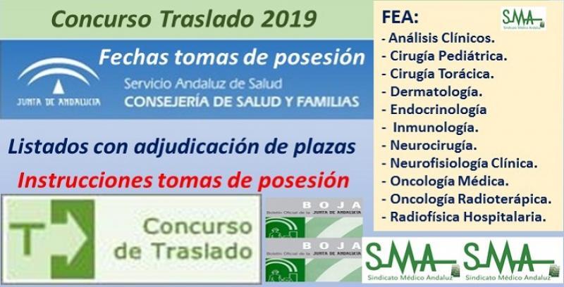 Concurso de Traslados 2019. Publicado en el Boja la resolución definitiva para varias especialidades de FEA y fechas de tomas de posesión.