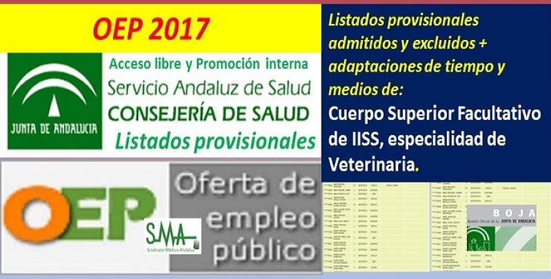 Publicados los listados provisionales de admitidos y excluidos en la OEP 2017 de Cuerpo Superior Facultativo de IISS, de la especialidad de Veterinaria (libre y promoción interna).