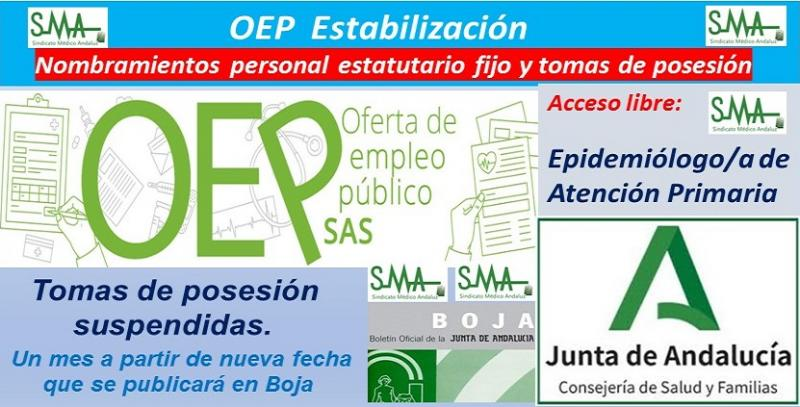 OEP Estabilización. Nombramientos de personal estatutario fijo y toma de posesión, de Epidemiólogo/a de AP, acceso libre.