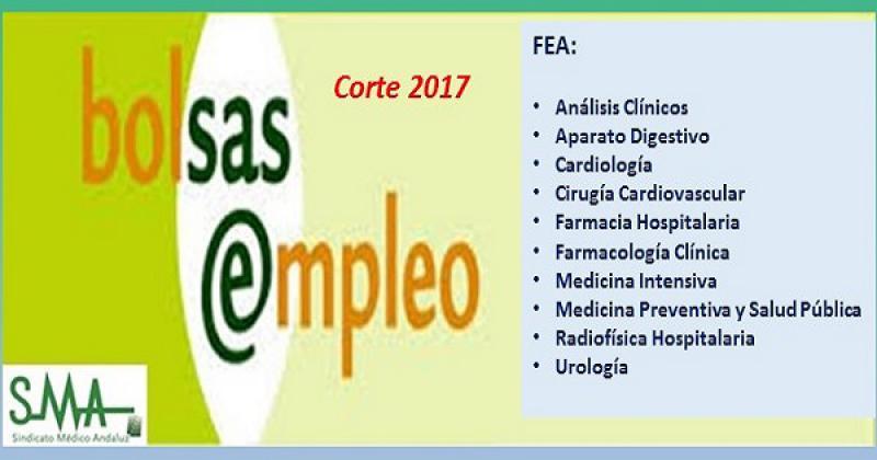 Bolsa. Publicación del listado definitivo de candidatos (corte 2017) de distintas especialidades de FEA.