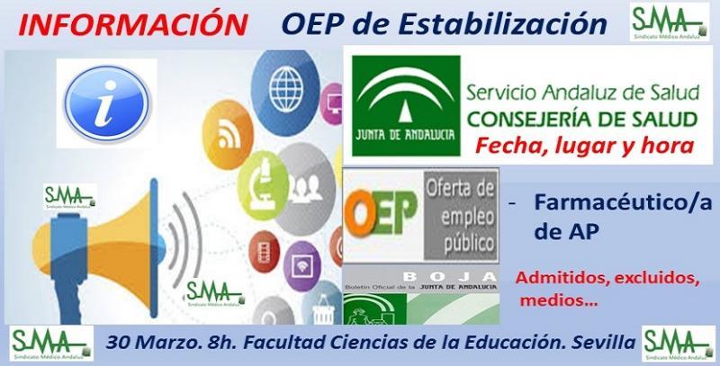 Publicados en BOJA los listados definitivos de admitidos, adaptaciones, fecha y lugar de celebración de los exámenes de la OEP de Estabilización de Farmacéutico/a de AP.