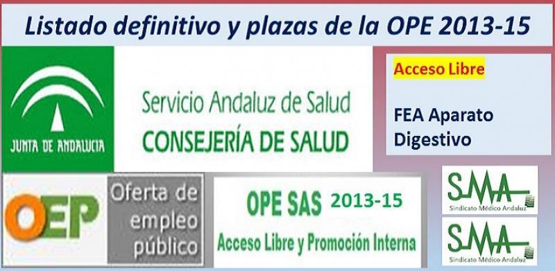 Publicadas las listas definitivas y plazas fijas de la OPE 2013-15, acceso libre de FEA de Aparato Digestivo.