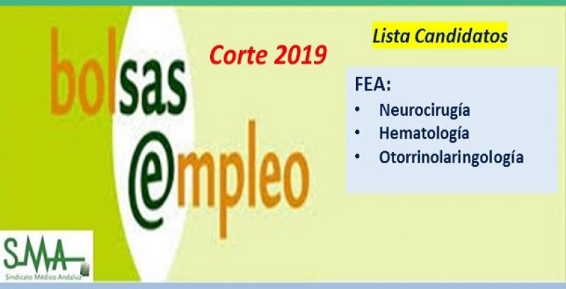 Bolsa. Publicación del listado definitivo de candidatos (corte 2019) de FEA de Neurocirugía, Hematología y Otorrinolaringología.