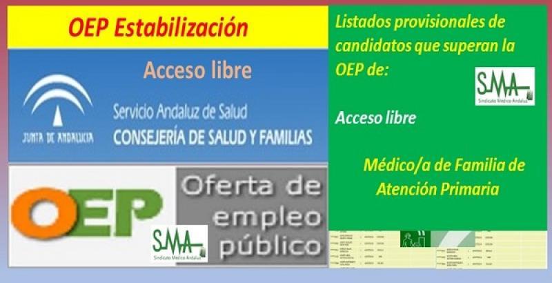 OEP Estabilización. Listado provisional de personas que superan el concurso-oposición de Médico/a de Familia de  Atención Primaria, acceso libre.