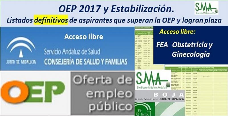 OEP 2017-Estabilización. Listados definitivos de personas aspirantes que superan el concurso-oposición y logran plaza, de FEA Obstetricia y Ginecología, acceso libre.