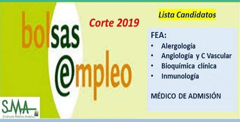 Bolsa. Publicación del listado definitivo de candidatos (corte 2019) de FEA de Alergia, Angiología, Bioquímica Clínica e Inmunología y de Médico de Admisión.