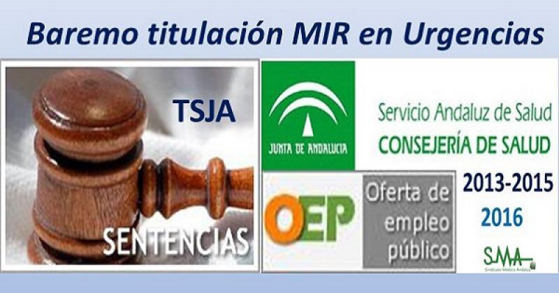 Sentencia TSJA: En las OPE de 2013-2015 y 2016 no cabe puntuar más a Familia para acceder a Urgencias.