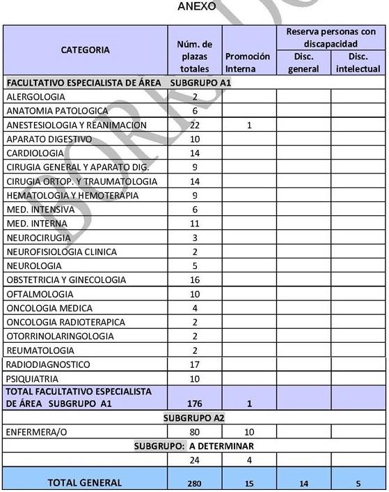 Desglose de plazas por Categorías propuestas.