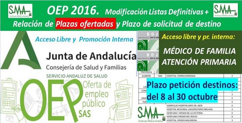 Publicada en el BOJA la relación de las plazas ofertadas y el plazo para solicitar destino de la OEP 2016 de Médico de Familia AP, acceso libre y pomoción interna.