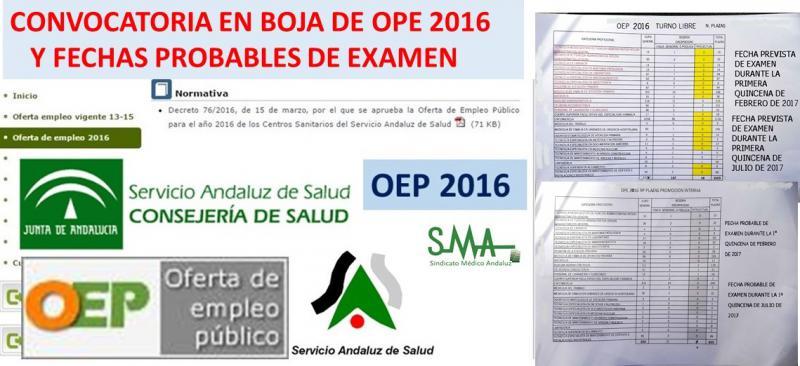 OPE 2016. Convocatorias en BOJA a partir de mañana y fechas probables de exámenes.