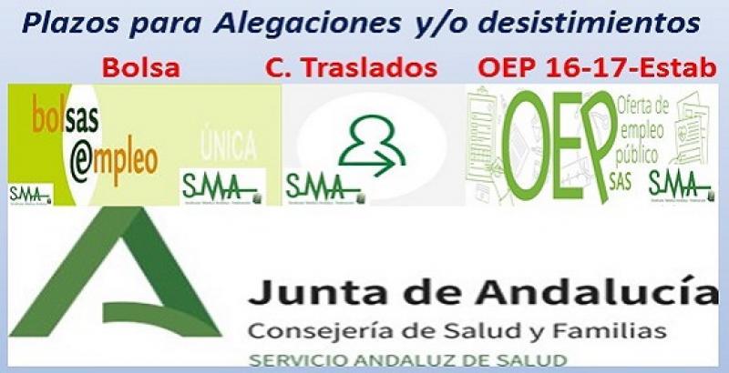 Plazos para alegaciones a listados provisionales de bolsa, concurso de traslados y OEP 16-17 y Estabilización.