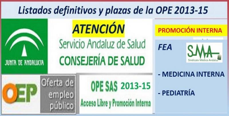 Publicadas las listas definitivas y plazas fijas de la OPE 2013-15 de FEA Medicina Interna y Pediatría por promoción interna.