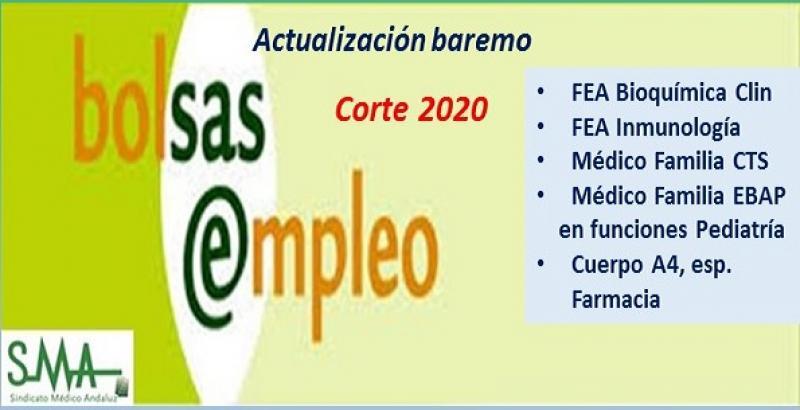 Bolsa. Publicación de listas de aspirantes con actualización del baremo de méritos (corte 2020) de distintas categorías y especialidades.