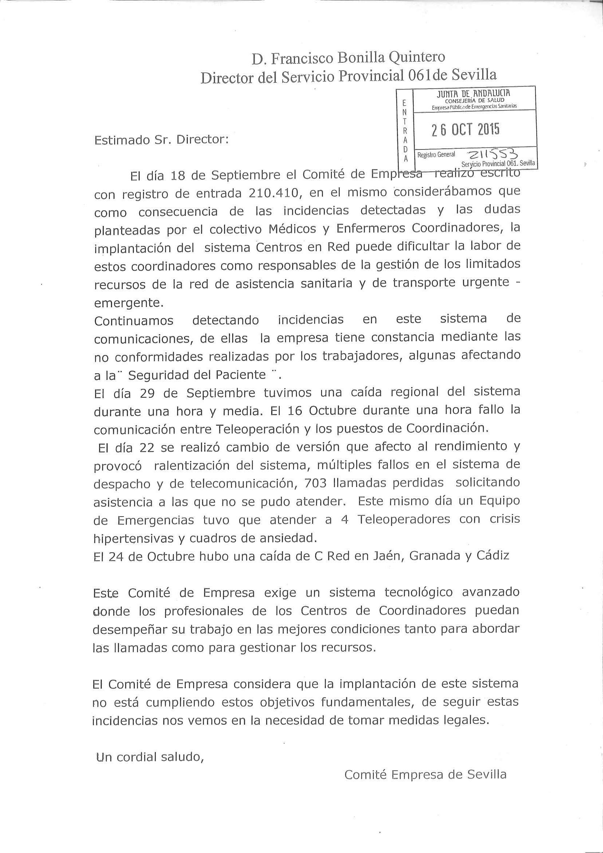 Documento del Comité de Empresa de la provincia de Sevilla presentado ante el Director Provincial del 061 y denunciando los problemas del SIEPES EN RED.