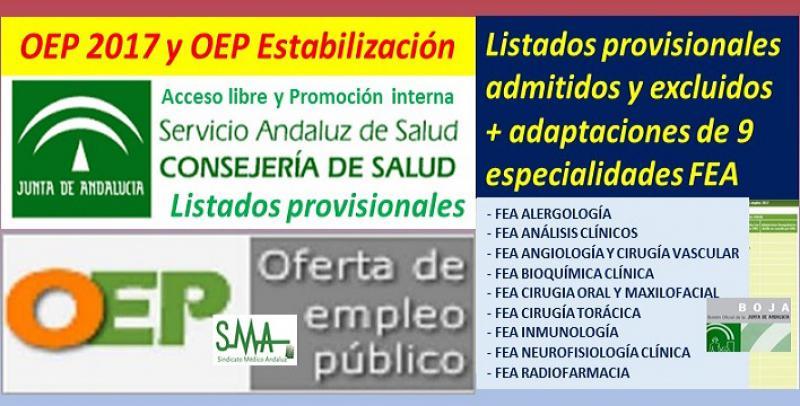 Publicados los listados provisionales de admitidos y excluidos en la OEP 2017 y estabilización de 9 especialidades de FEA (libre y promoción interna).
