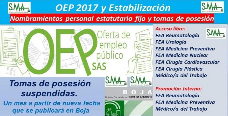 OEP 2017-Estabilizacion. Nombramientos de personal estatutario fijo y toma de posesión, de varias especialidades de FEA y Médico/a del Trabajo, acceso libre y p. interna.