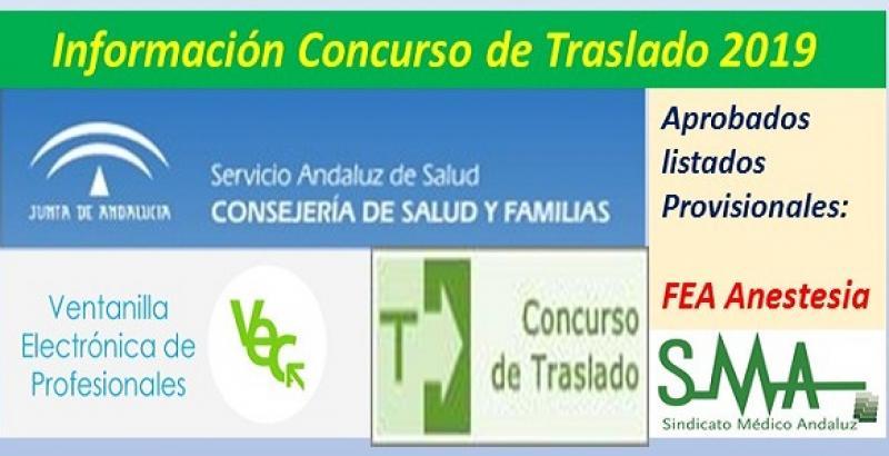 Aprobado el listado provisional del Concurso de Traslados 2019 (pendiente de publicación en Boja) de FEA de Anestesia.