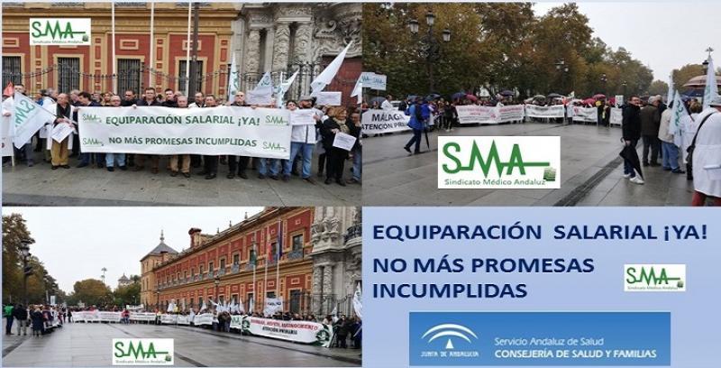 Protesta de los médicos ante la sede del Gobierno andaluz pidiendo más inversión y mejoras retributivas.