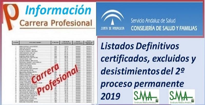 Carrera Profesional: Listados definitivos de profesionales certificados y excluidos del Segundo Proceso de certificación de 2019.