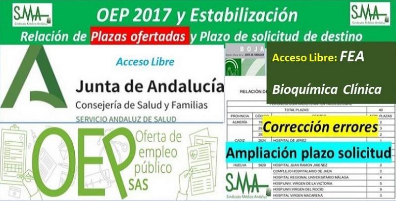 Corrección de errores de la Resolución de relación de plazas que se ofertan e inicio de plazo para solicitar destino en el concurso-oposición de FEA Bioquímica Clínica, acceso libre.