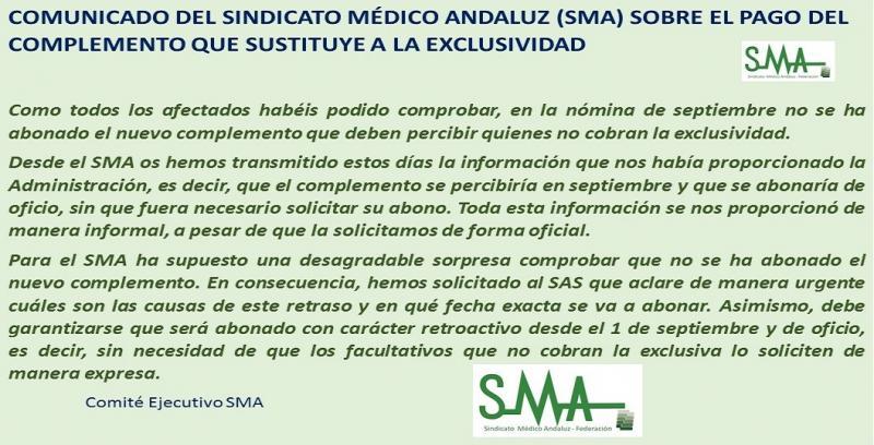 Comunicado del SMA sobre el pago del complemento que sustituye a la exclusividad.