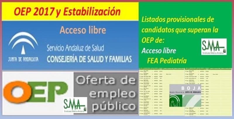 OEP 2017-Estabilización. Listado provisional de personas que superan el concurso-oposición de FEA Pediatría, acceso libre.