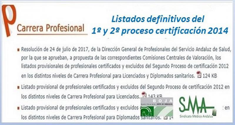 Publicado en el Boja la Resolución aprobando los listados definitivos de Carrera Profesional en el SAS, 1º y 2º proceso certificación 2014.