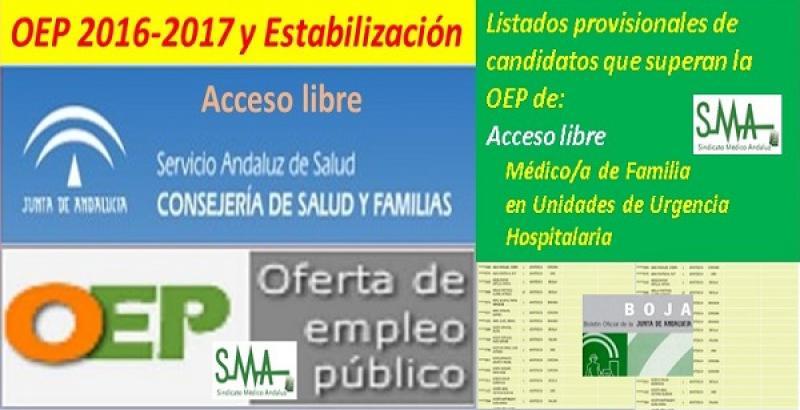 OEP 2016-2017-Estabilización. Listado provisional de personas que superan el concurso-oposición de Médico/a de Familia en Unidades de Urgencia Hospitalaria, acceso libre.