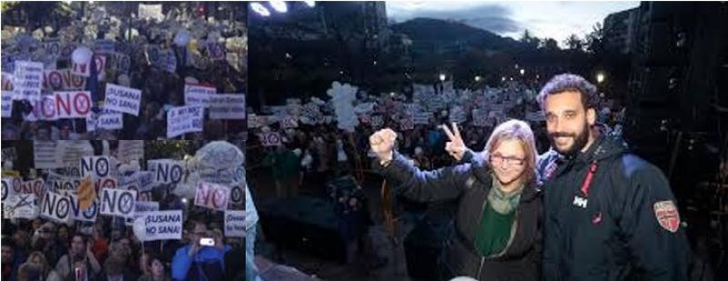 Manifestantes de Granada, Huelva y Jaén protestan junto a Spiriman por los recortes de Díaz en sanidad.