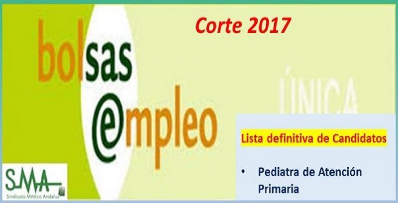 Bolsa. Publicación del listado definitivo de candidatos (corte 2017) de Pediatra de Atención Primaria.