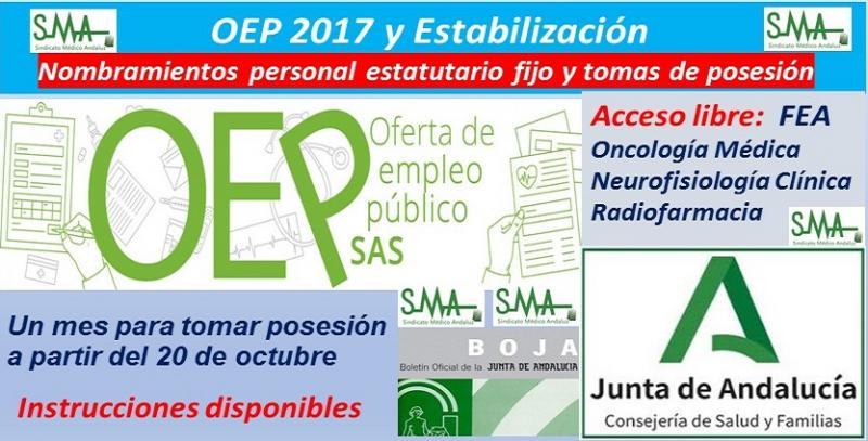 OEP 2017-Estabilización. Nombramientos de personal estatutario fijo y toma de posesión, de FEA Oncología Médica, Neurofisiología y Radiofarmacia, acceso libre.