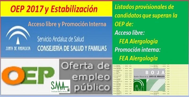 OEP 2017-Estabilización. Listado provisional de personas que superan el concurso-oposición de FEA Alergología (acceso libre y promoción interna).