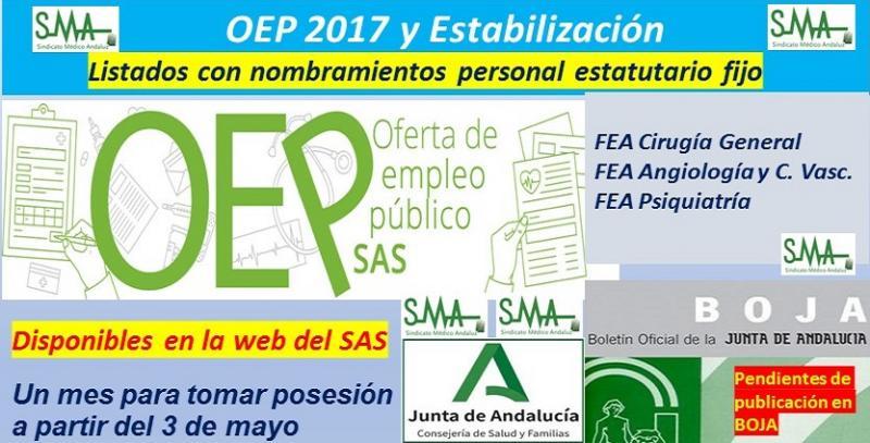 OEP 2017-Estabilización. Disponibles los listados con los nombramientos en la categoría de FEA de Cirugía General, Angiología y C. Vascular y Psiquiatría.