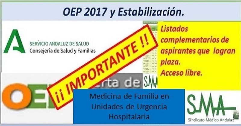 Nuevos nombramientos de la OEP ordinaria y extraordinaria de las plazas no cubiertas, especialidad Medicina de Familia en Unidades de Urgencia Hospitalaria.