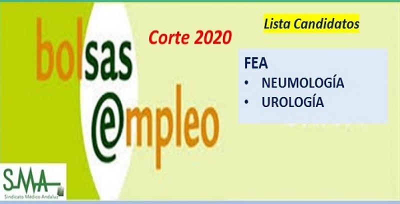Bolsa. Listas definitivas de candidatos (corte 2020) de FEA de Neumología y Urología.