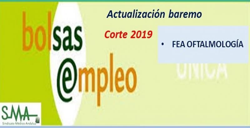 Bolsa. Publicación de lista de aspirantes con actualización del baremo de méritos (corte 2019) de FEA de Oftalmología.