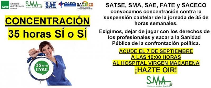 Sindicatos profesionales de la Sanidad andaluza convocan movilizaciones en defensa de la jornada de 35 horas semanales.