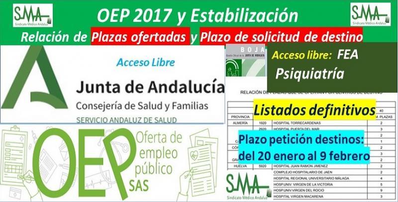 Publicada en el BOJA la aprobación de listados definitivos, la relación de las plazas ofertadas y el plazo para solicitar destino de la OEP 2017-Estabilización de FEA de Psiquiatría, acceso libre.