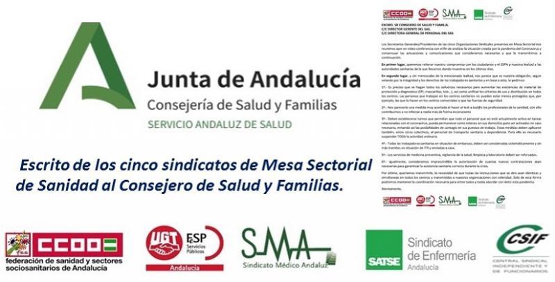 Escrito de los cinco sindicatos de Mesa Sectorial de Sanidad al Consejero de Salud y Familias.