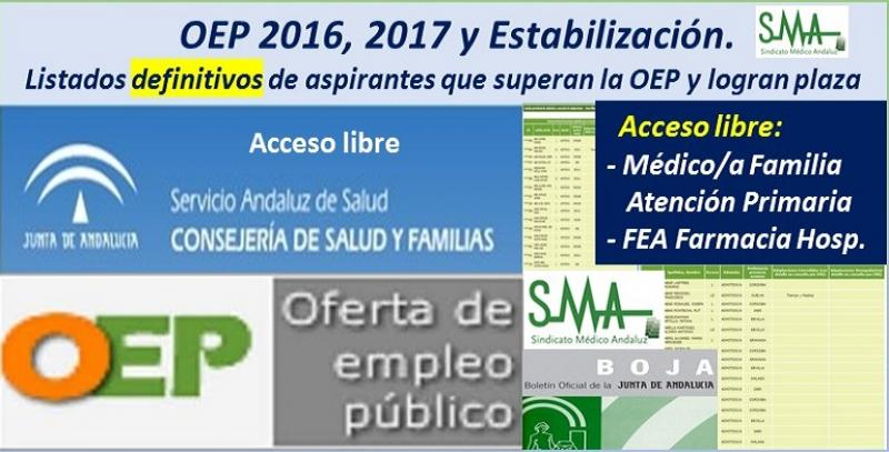 OEP 2016-2017-Estabilización. Listados definitivos de personas aspirantes que superan el concurso-oposición y logran plaza, de Médico/a de Familia AP y FEA Farmacia Hospitalaria, acceso libre.