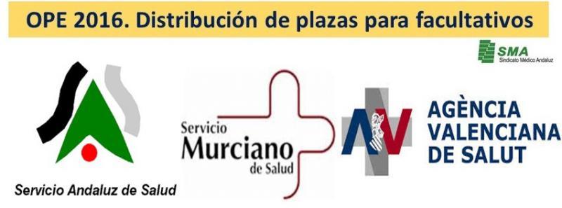 OPE 2016 en Andalucía, Murcia y en la Comunidad Valenciana: distribución de las plazas aprobadas para facultativos.