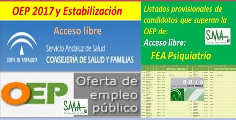 OEP 2017-Estabilización. Listado provisional de personas que superan el concurso-oposición de FEA Psiquiatría, acceso libre.