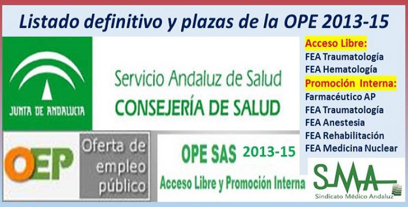Publicadas las listas definitivas y plazas fijas de la OPE 2013-15 (acceso libre) de FEA de Traumatología y Hematología y (promoción interna) de 4 especialidades FEA y de Farmacéutico AP.