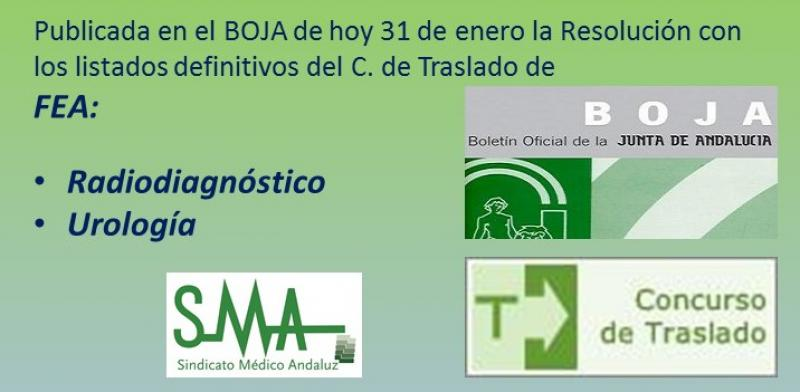 Publicada en el BOJA la Resolución con los listados definitivos del C. de Traslado de FEA de Radiodiagnóstico y Urología.