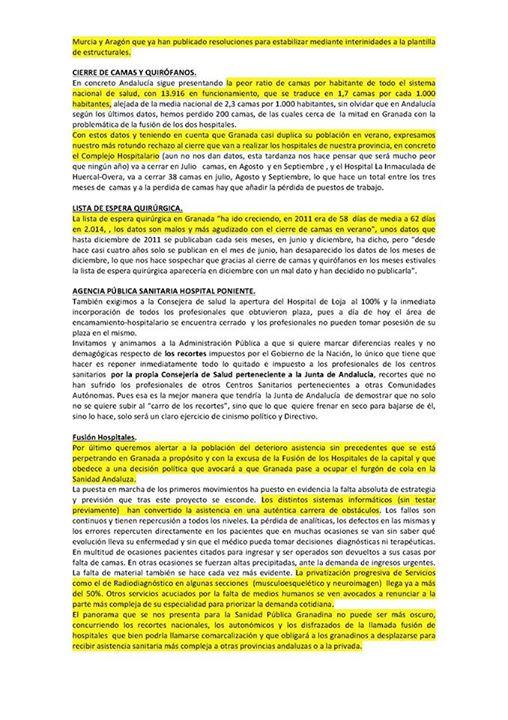 Manifiesto Juntas de Personal Granada 2