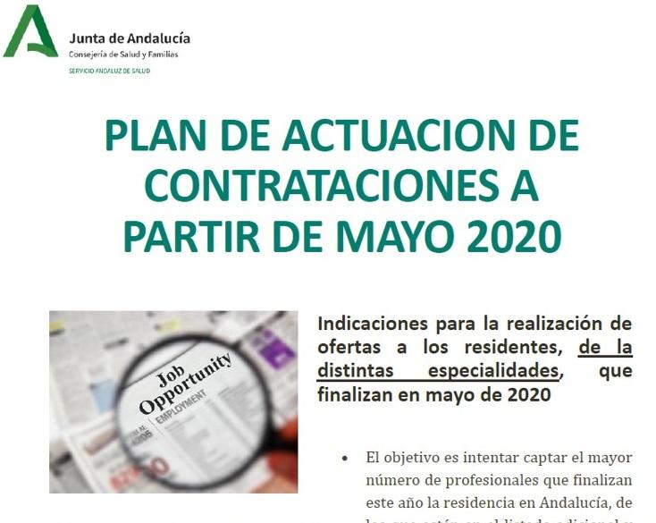 Plan de actuación de contrataciones a partir de mayo 2020. Verano 2020