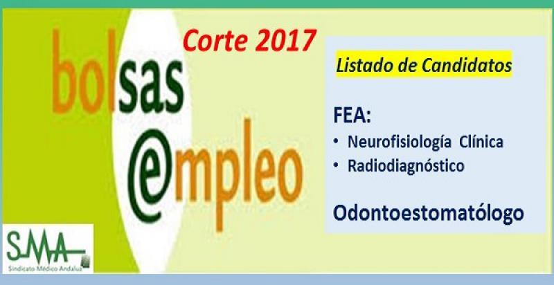 Bolsa. Publicación del listado definitivo de candidatos (corte 2017) de Odontoestomatólogo y FEA de Neurofisiología Clínica y Radiodiagnóstico.