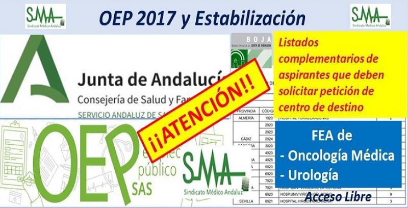Para nuevos nombramientos de la OEP 2017-Estabilización de las plazas no cubiertas de FEA Oncologia Médica y Urología.