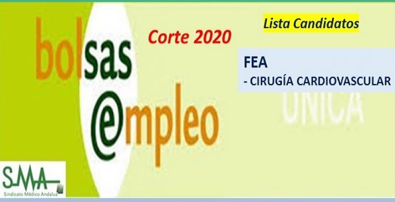 Bolsa. Listas definitivas de candidatos (corte 2020) de FEA de Cirugía Cardiovascular.